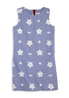 Vineyard Vines Girls' Embroidered Star & Whale Shift Dress - Little Kid, Big Kid