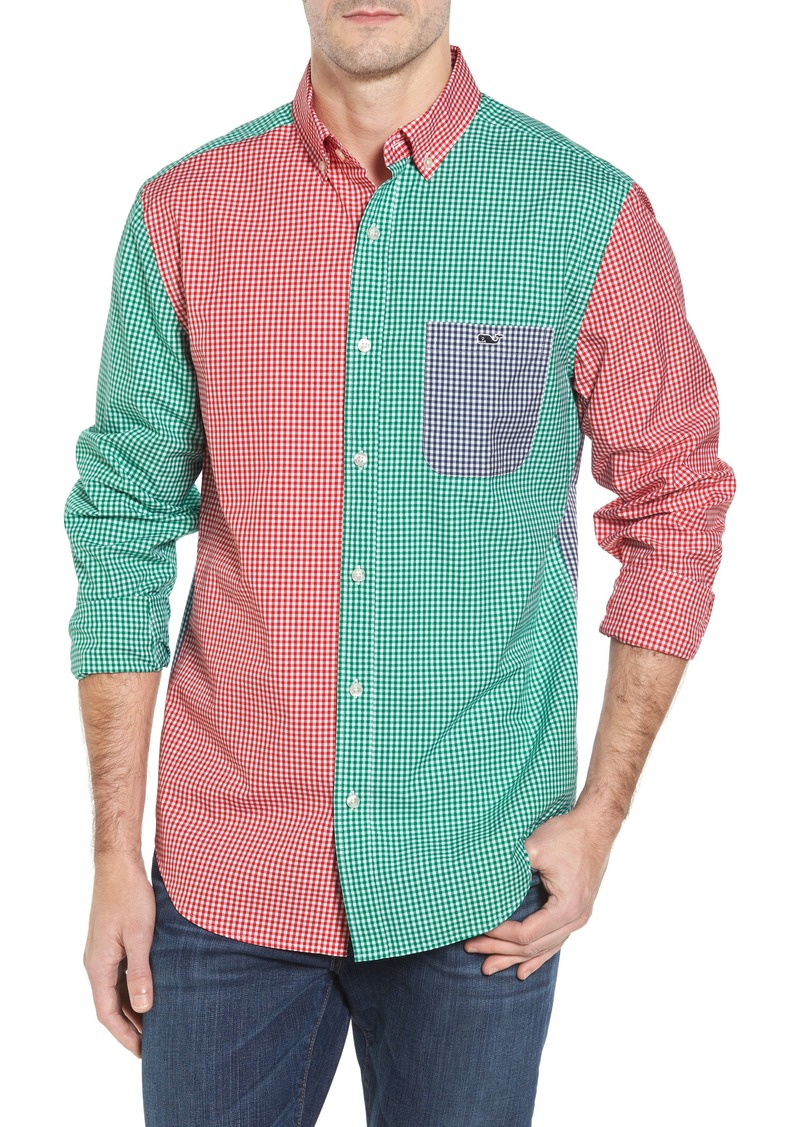 vineyard vines Holiday Party Classic Fit Colorblock Sport Shirt