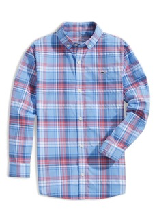 vineyard vines Kids' Gingham Check Button-Up Performance Shirt (Toddler & Little Boy)