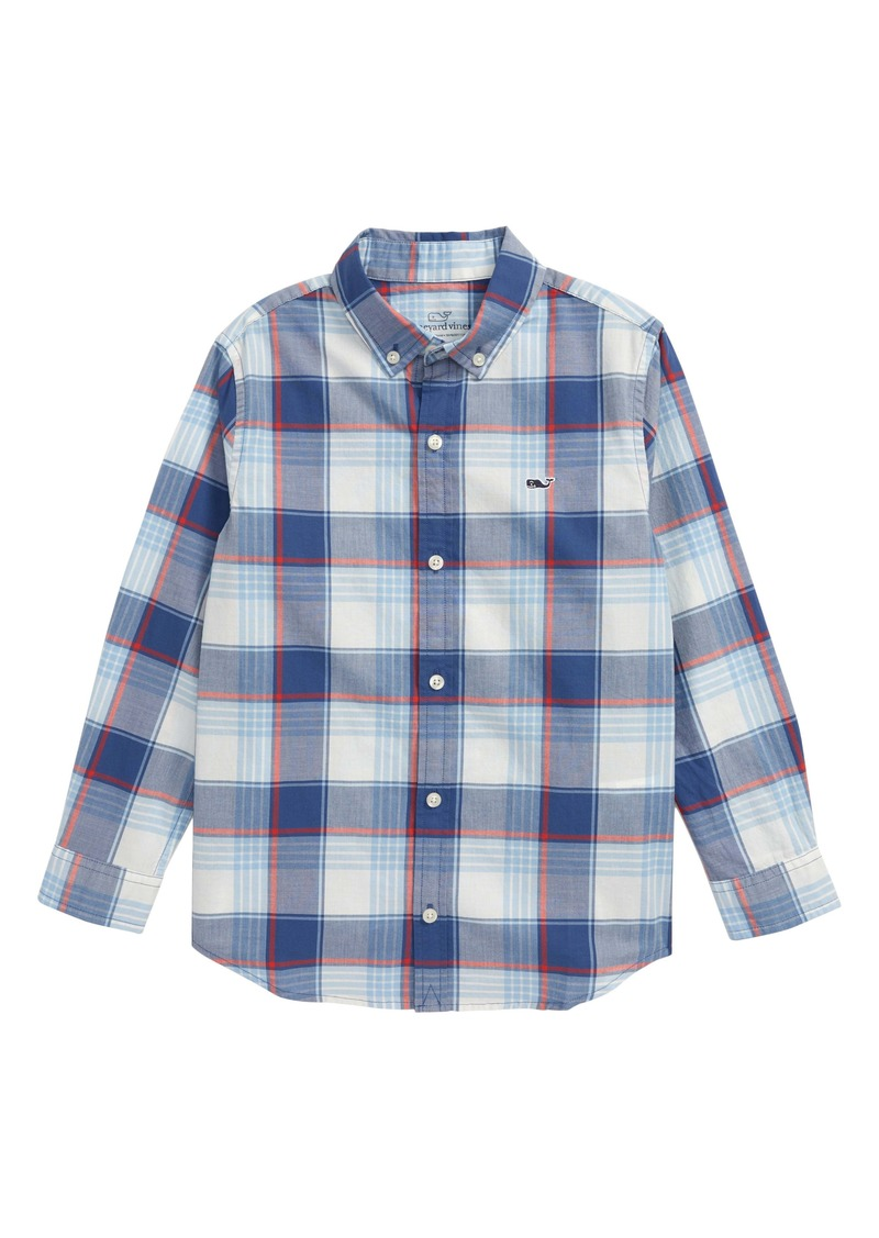 vineyard vines Lagoon Plaid Button-Up Shirt (Toddler & Little Boy)