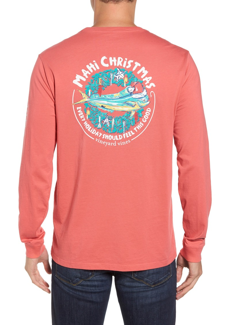 vineyard vines mahi christmas pocket t shirt
