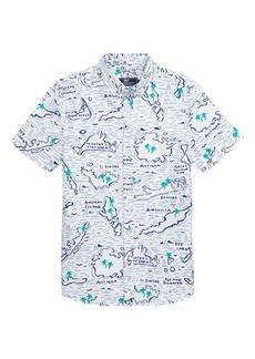 vineyard vines Map of the Island Oxford Whale Shirt (Big Boys)
