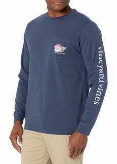 Vineyard Vines Men's Long Sleeve 2020 Classic Santa Whale Pocket T-Shirt