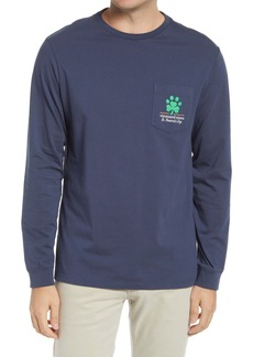 vineyard vines Men's St. Pawtrick's Day Long Sleeve Pocket Graphic Tee