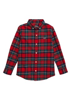 vineyard vines Merry Plaid Whale Button-Up Flannel Shirt (Toddler & Little Boy)
