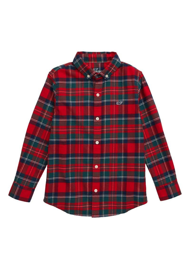 vineyard vines Merry Plaid Whale Button-Up Flannel Shirt (Toddler Boys & Little Boys)