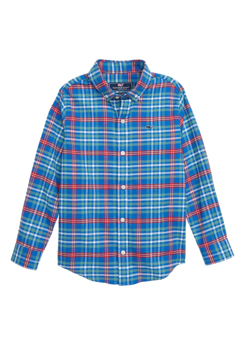 3dd4f2210 vineyard vines Mill River Flannel Whale Shirt (Toddler Boys   Little Boys)