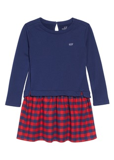 vineyard vines Mixed Media Sweatshirt Dress (Little Girls & Big Girls)