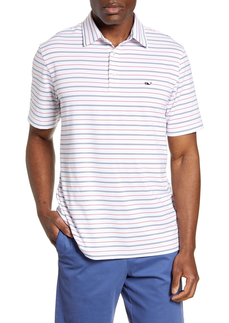 vineyard vines Multistripe Regular Fit Short Sleeve Performance Polo