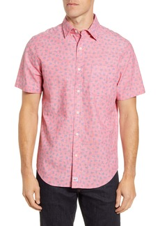 vineyard vines Murray Slim Fit Leaf Print Short Sleeve Button-Down Shirt