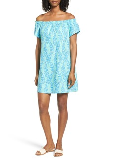 Vineyard Vines Palm Print Off the Shoulder Shift Dress