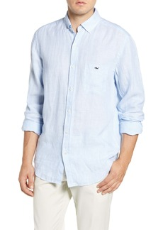vineyard vines Regular Fit Stripe Linen Button-Down Sport Shirt