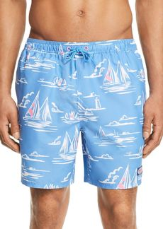 Vineyard Vines Sailboat-Print Swim Trunks