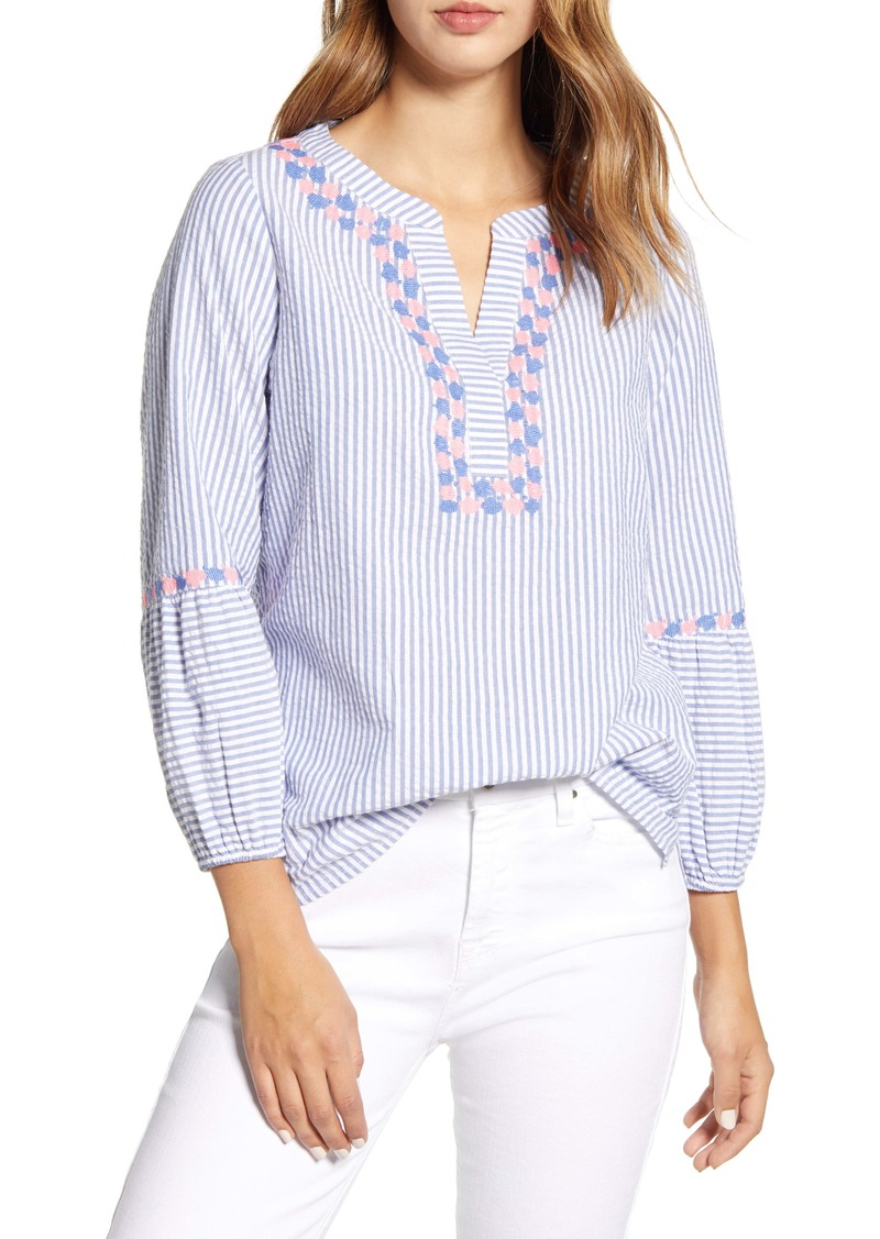 vineyard vines Savannah Stripe Embroidered Top