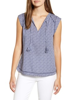 vineyard vines Scallop Dot Tie Neck Blouse