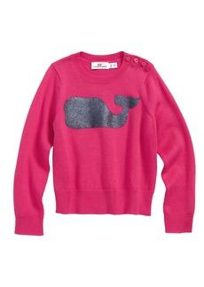 vineyard vines Sequin Whale Crewneck Sweater (Toddler Girls)