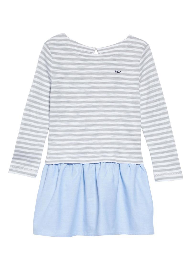 vineyard vines Stripe Mixed Media Dress (Toddler Girls)