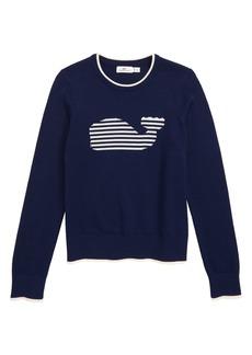 vineyard vines Stripe Whale Intarsia Sweater (Toddler Girls, Little Girls & Big Girls)
