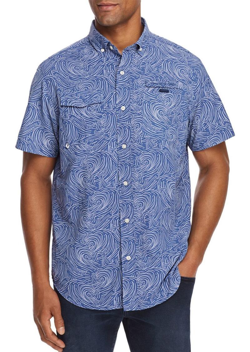 Vineyard Vines Surf No Turf Harbor Short-Sleeve Fish-Print Classic Fit Button-Down Shirt
