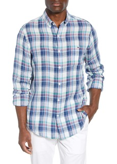 vineyard vines Tucker Classic Fit Plaid Linen Sport Shirt