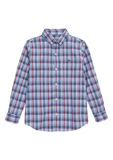 vineyard vines Williams Plaid Whale Button-Down Shirt (Toddler & Little Boy)