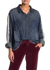Vintage Havana Camo Stripe Contrast Button Down Shirt