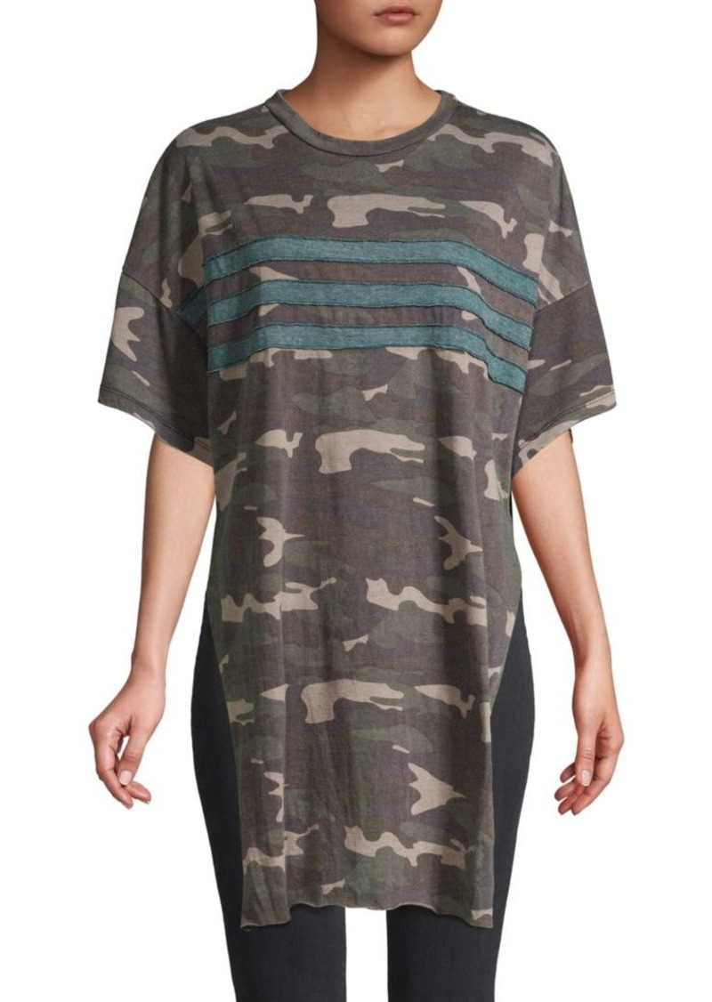 Vintage Havana Camouflage High-Low Cotton-Blend Tee