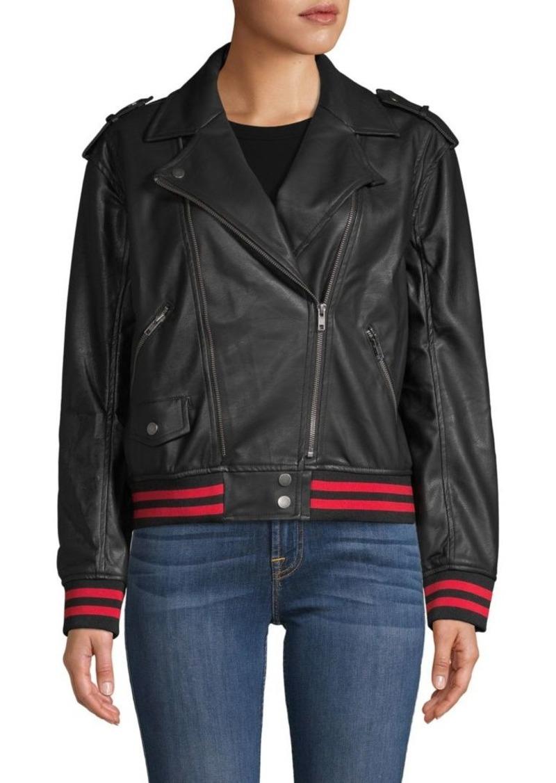 Vintage Havana Faux Leather Moto Jacket