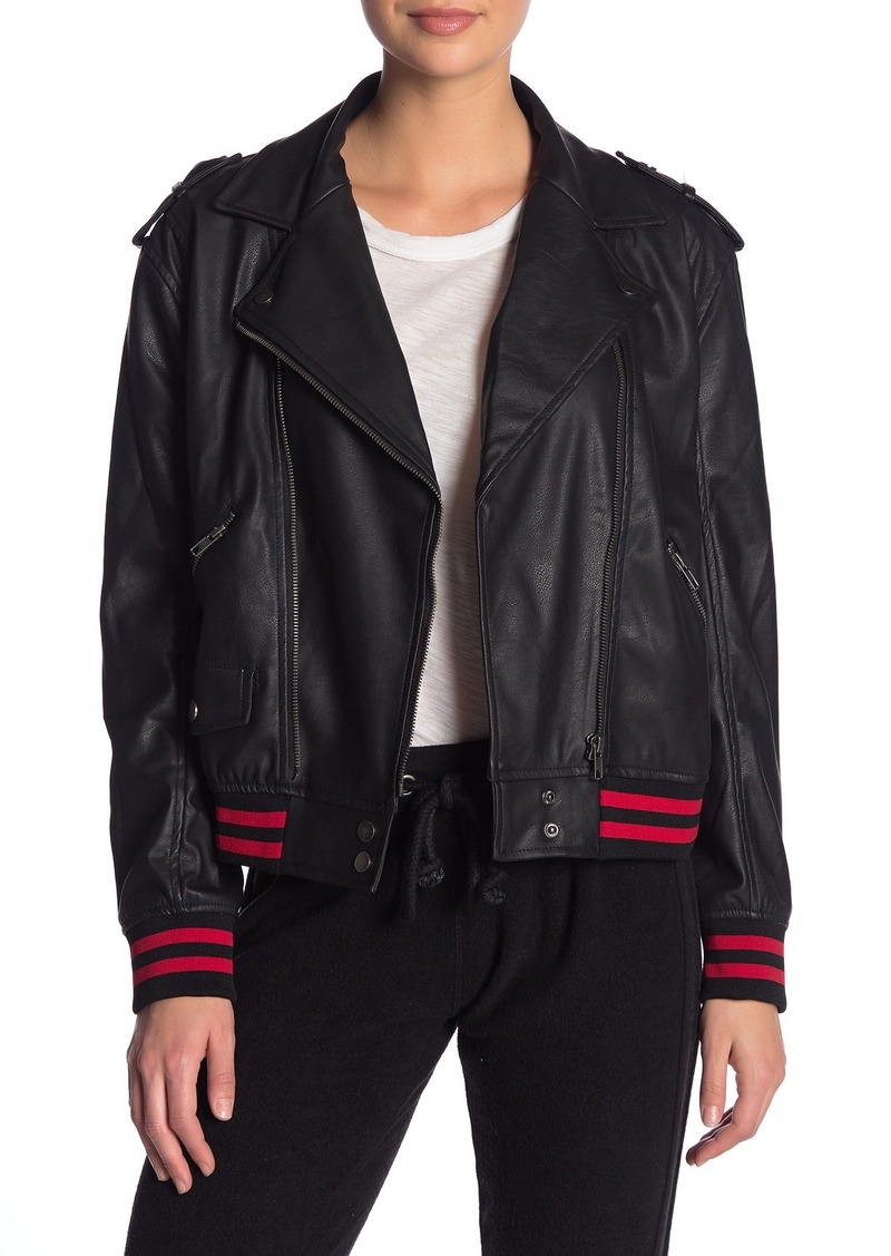 Vintage Havana Faux Leather Striped Trim Jacket