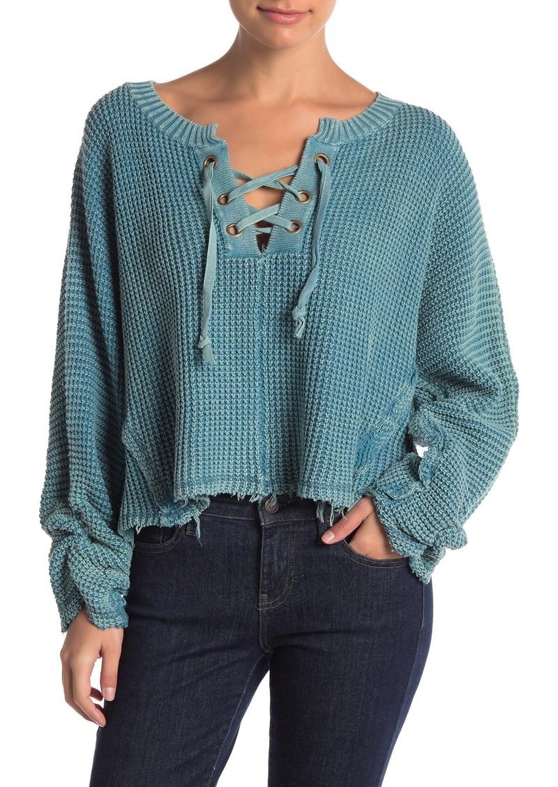 Vintage Havana Lace-Up Boxy Sweater