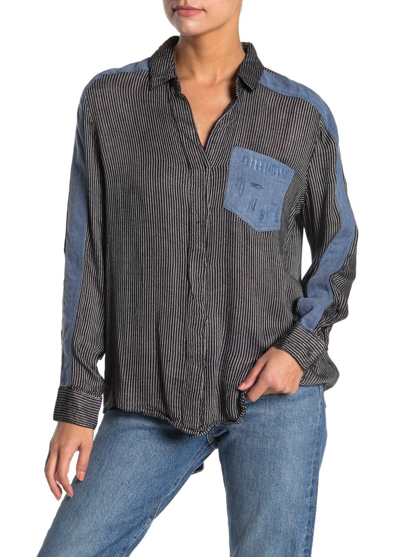 Vintage Havana Pinstripe Denim Contrast Button Down Blouse