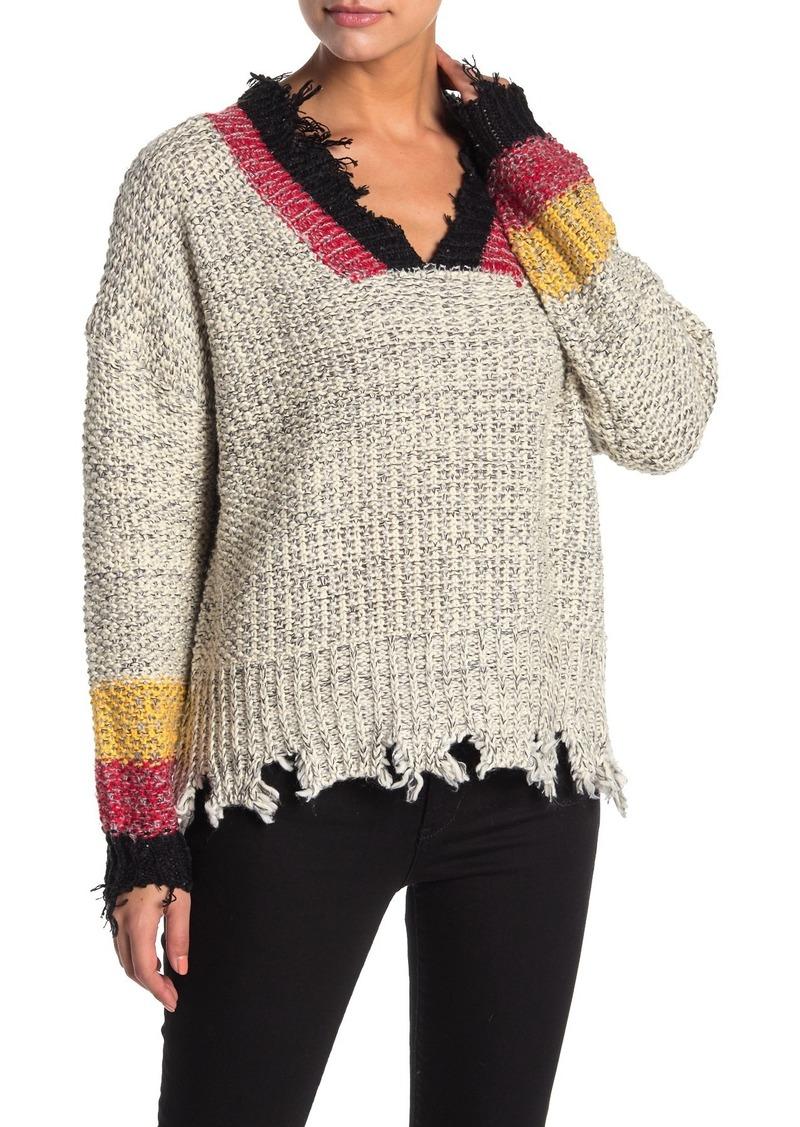 Vintage Havana Stripe Trim Chunky Knit Distressed Sweater