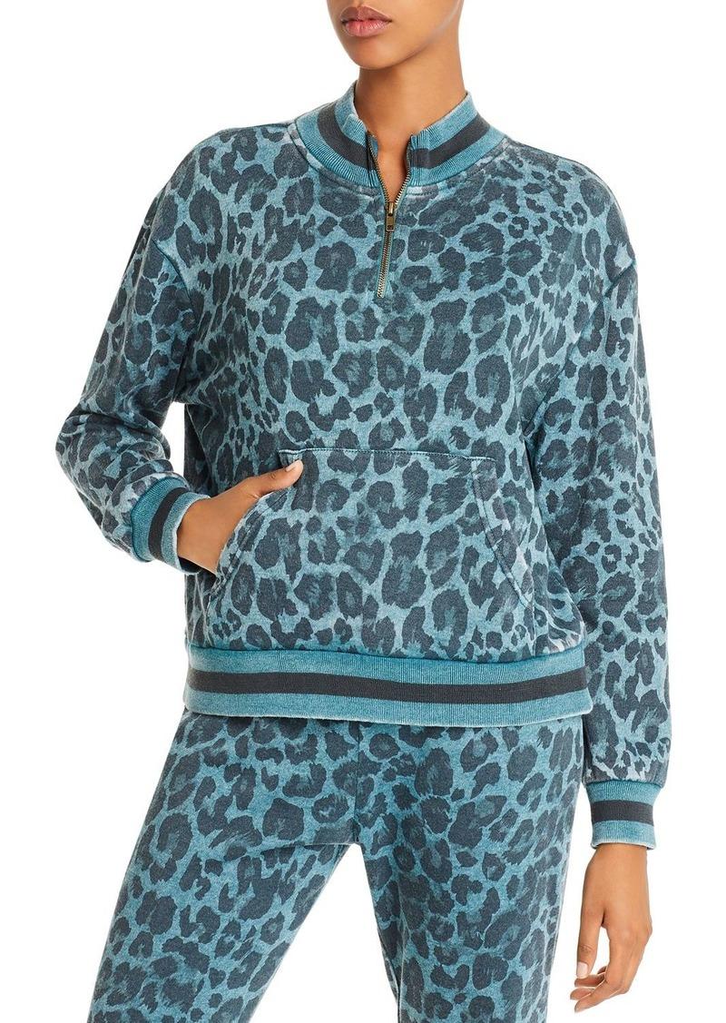Vintage Havana Quarter-Zip Leopard Print Sweatshirt