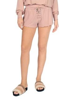 Vintage Havana Ribbed Lace Up Shorts