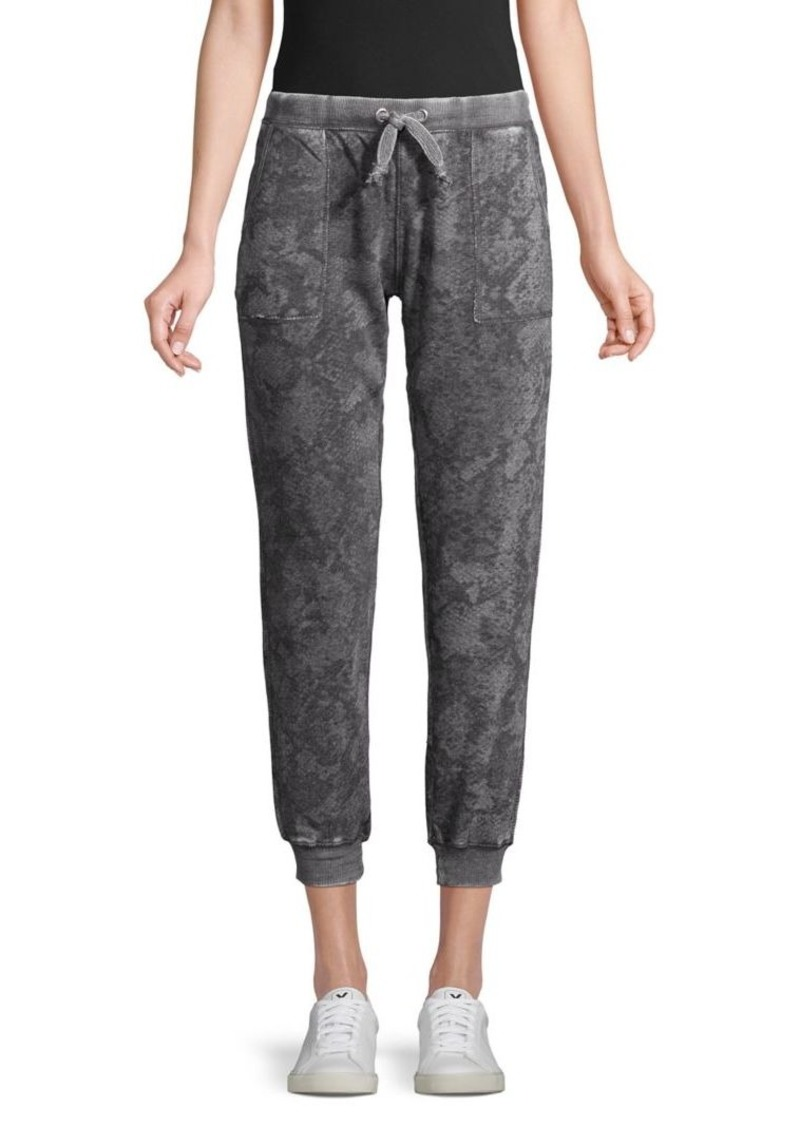 Vintage Havana Snake-Print Cotton-Blend Cropped Jogger Pants