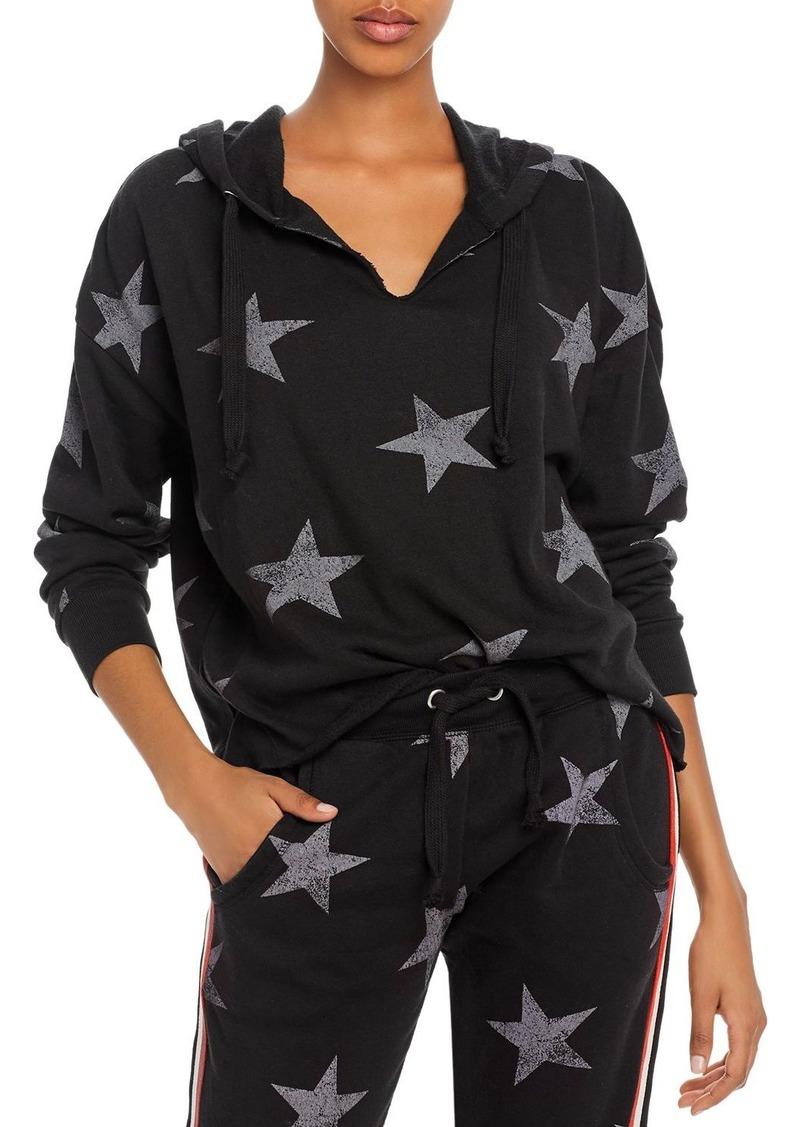 Vintage Havana Striped-Trim Star Print Hooded Sweatshirt
