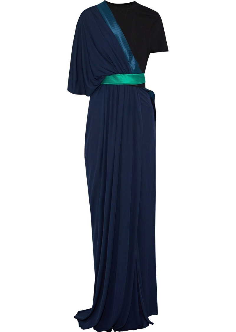 Vionnet Woman Color-block Layered Stretch-georgette Gown Navy