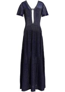 Vionnet Woman Cutout Metallic Stretch-knit Gown Indigo