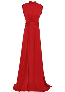 Vionnet Woman Cutout Silk-blend Crepe Gown Claret