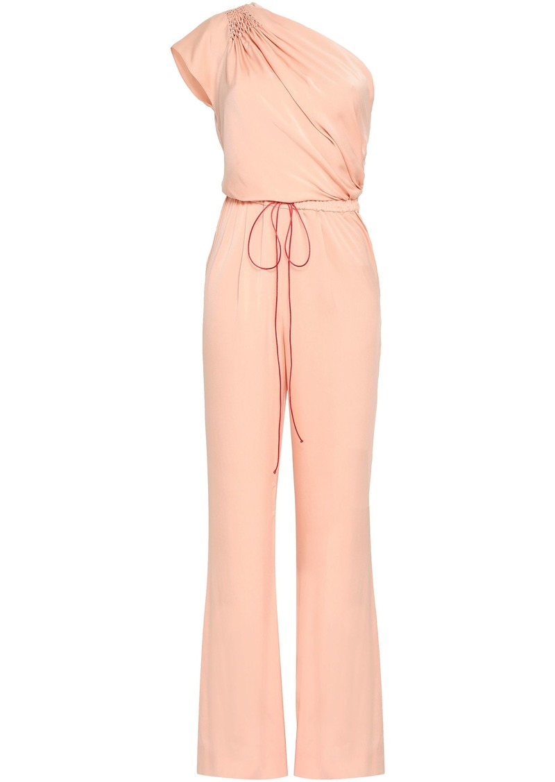 Vionnet Woman One-shoulder Smocked Stretch-silk Jumpsuit Blush