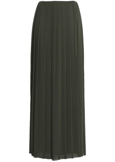Vionnet Woman Pleated Georgette Maxi Skirt Army Green