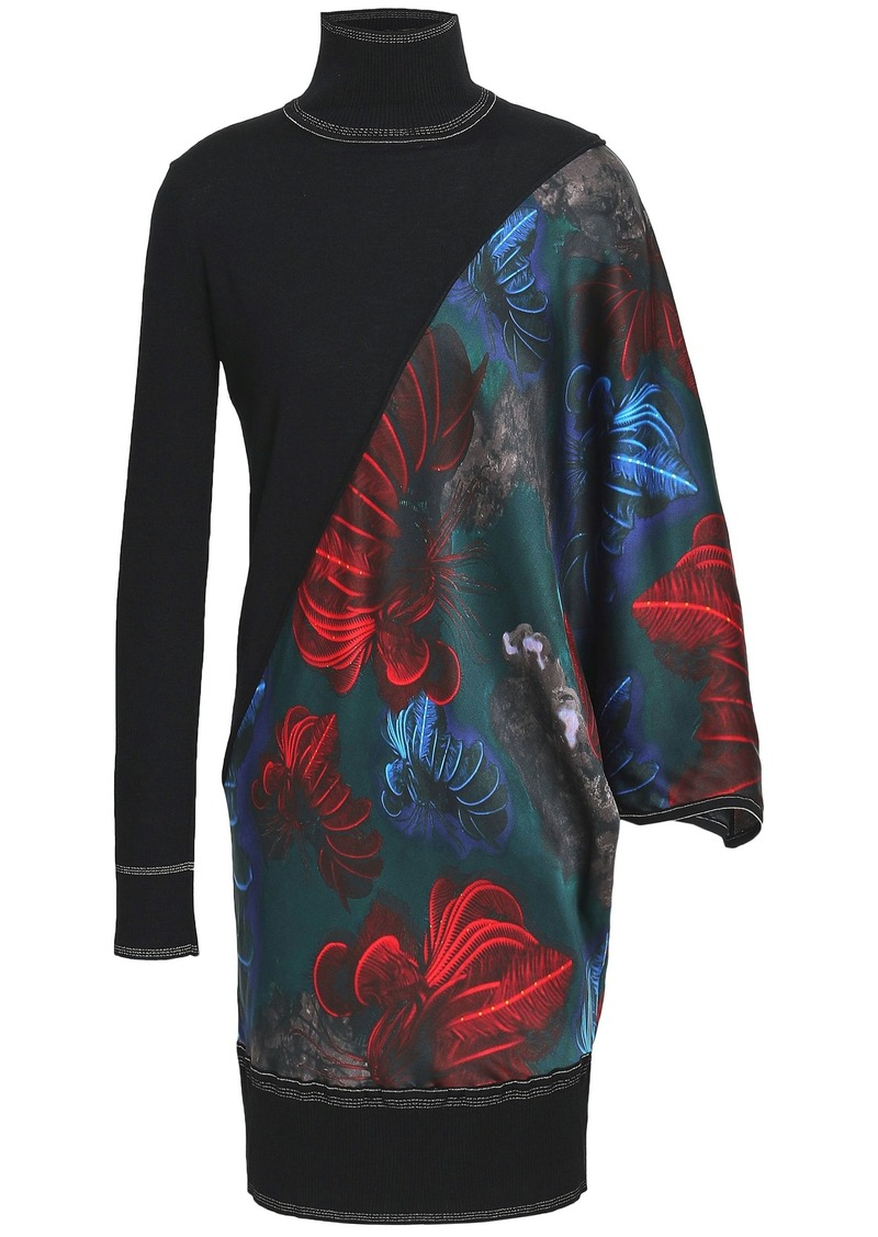 Vionnet Woman Printed Satin-paneled Wool And Silk-blend Turtleneck Top Black