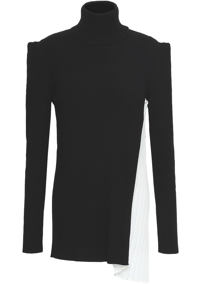 Vionnet Woman Rib-paneled Wool And Silk-blend Turtleneck Top Black