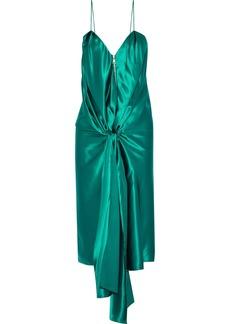 Vionnet Woman Tie-front Silk-satin Dress Jade
