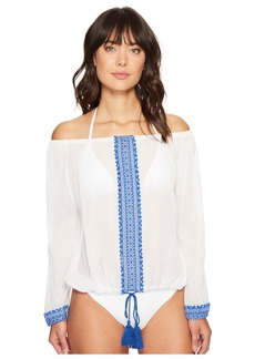 Vitamin A Capri Cropped Peasant Top Cover-Up