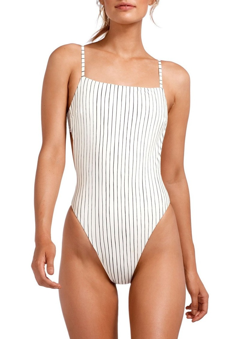Vitamin A Edie Stripe Adjustable-Strap High-Leg One-Piece Swimsuit