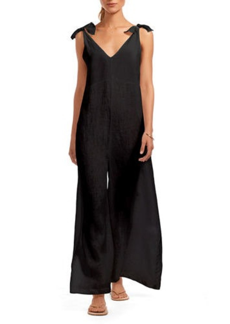 Vitamin A Marina Linen Wide-Leg Coverup Jumpsuit