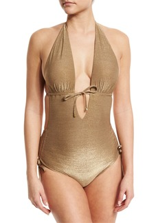Vitamin A Brena Metallic Plunge-Neck One-Piece Swimsuit