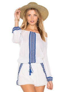 vitamin A Capri Peasant Top in White. - size L (also in M,S)