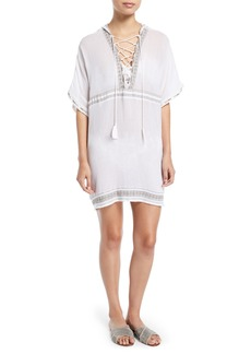 Vitamin A Isabell Lace-Up Embroidered Short Caftan Coverup